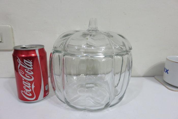 【讓藏】早期收藏,老玻璃南瓜糖果罐,完整,漂亮,大件,18*18*17.5