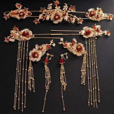 中式新娘頭飾 紅色鳳冠頭飾耳環套裝古裝流蘇秀禾禮服婚禮結婚發飾 頭飾 耳環 髮夾—莎芭
