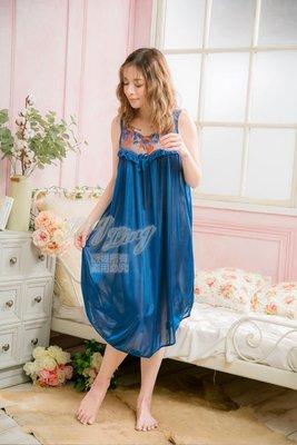 【J.Li】QA3909-01全尺碼-蝶結冰絲網紗花蕾絲無袖連身裙睡衣(沉靜深藍)