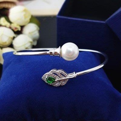 珍珠 手 環 925純銀手鍊-10mm綠葉鑲鑽母親節情人節禮物女飾品73qn23[獨家進口][米蘭精品]
