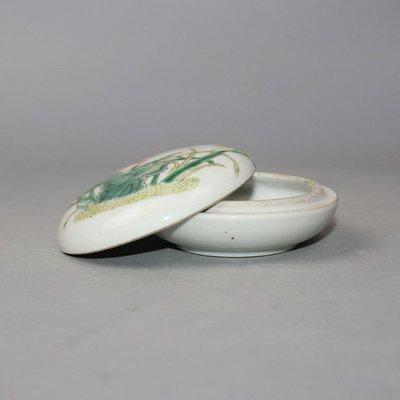 ㊣三顧茅廬㊣ 清粉彩花鳥胭脂盒有款掉彩古玩古董收藏