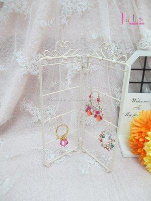☆[Hankaro]☆創意鐵藝米色屏風造型兩瓣可折疊首飾收納架(樣品出清)