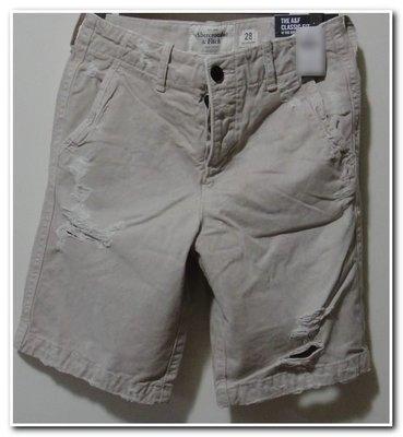 正品 Abercrombie & Fitch A&F DESTROYED CLASSIC FIT SHORTS 厚磅刷破短褲 W28 現貨含運