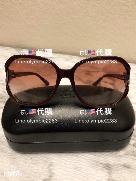 EL~COACH L1033 酒紅色框咖啡鏡面 抗UV 墨鏡 太陽眼鏡 現貨 付購買收據 2880免運