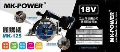 WIN五金 MK-POWER 18V 無刷5英吋圓鋸機(附4.0兩電一充)可直上牧田原廠電池 切石機 木工圓鋸機