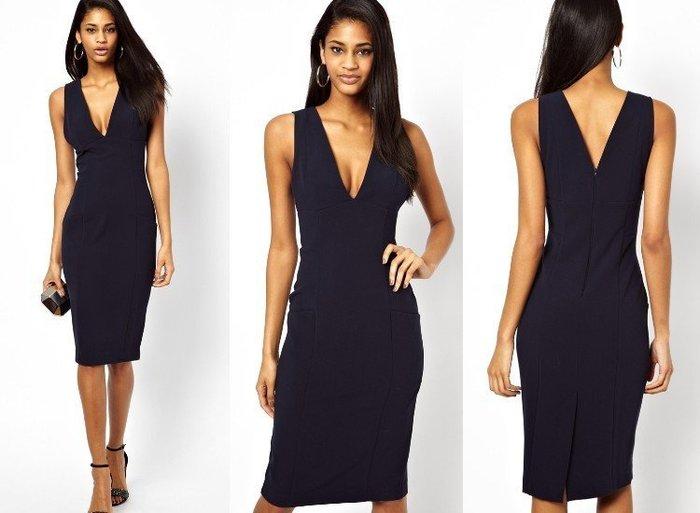 【ASOS WORLD】英國直送 現貨 UK12 UK14 歐美時尚知性深藍V領無袖窄裙鉛筆裙連身洋裝婚禮OL派對有中大
