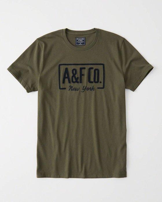 Maple麋鹿小舖 Abercrombie&Fitch * AF 深綠色貼布電繡字母短T * ( 現貨M/L號 )