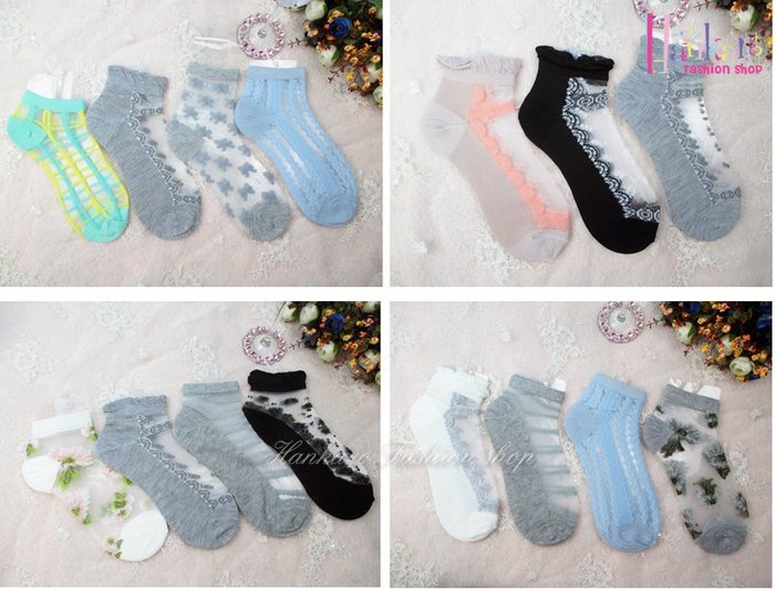☆[Hankaro]☆ 流行爆款水晶絲短襪透明襪(整組賣)~(合併批發另洽)