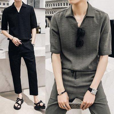 FAT74•2018春夏潮流新品上市 型男休閒套裝2色小V領暗條紋日系中袖休閒襯衫兩件套套裝
