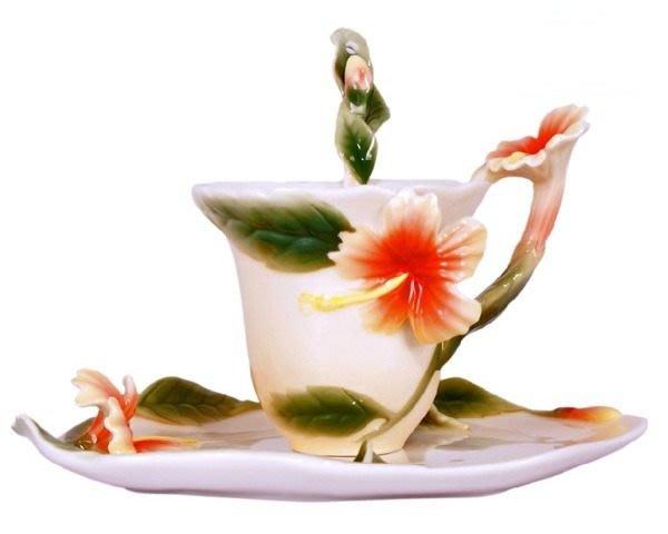 5Cgo 【鴿樓】 琺琅瓷 19305892206 扶桑花 立體花陶瓷杯盤匙組 (一組)  咖啡 花茶 下午茶