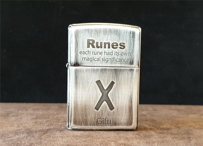 ONE*$1~*日系*ZIPPO*Runes Gifu《神聖婚姻護身符》六面磨色*蝕刻*編號:2UDS-RUNES2