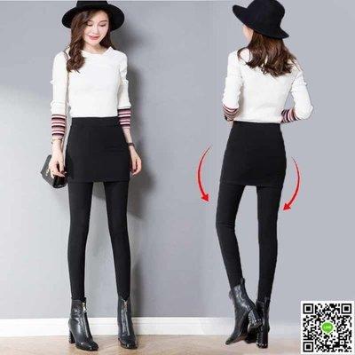 純棉假兩件打底褲女韓版包臀裙褲高腰外穿帶裙長褲顯瘦大碼