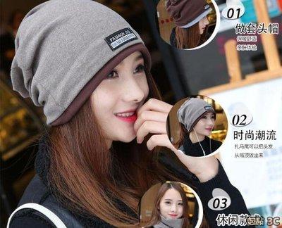 【Miosio】韓版頭巾帽子女士潮秋冬兩用包頭帽時尚套頭帽 多功能圍脖發帶帽
