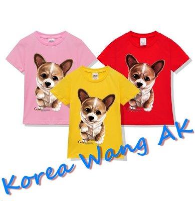 Korea Wang AK ~(預購)台灣原創獨家設計 美國純棉 限定版 超Q狗狗柯基犬兒童青少年版T 六款【P126】