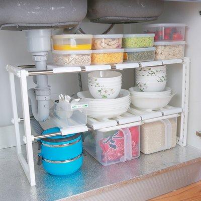 【berry_lin107營業中】下水槽置物架兩層塑料廚房收納櫥柜用品用具微波爐可調節下可伸縮
