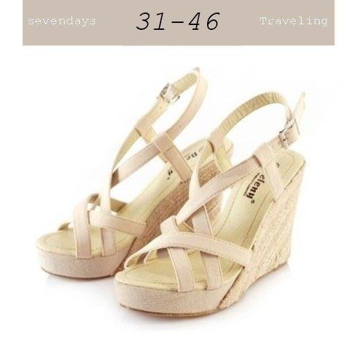 大尺碼女鞋小尺碼女鞋麻織綁帶編織楔型鞋厚底涼拖鞋四色杏色(31-46)現貨#七日旅行