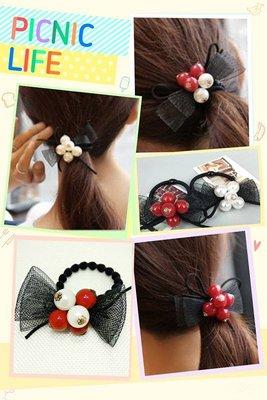 韓版珍珠蕾絲蝴蝶結彈力髮束 紅球 雙色 網紗髮飾 珍珠髮圈  髮繩 頭飾 現貨【希望種子購物網】