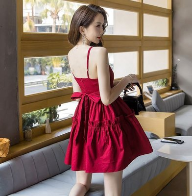 ❤Shinena 千奈公主❤韓2019新款蝴蝶結綁帶紅色V領細肩帶洋裝E175