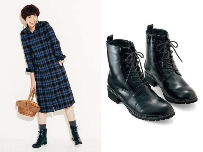 NETSHOP collection 日本 )帥氣英倫風馬丁鞋 拉鍊式綁帶中筒靴 黑色