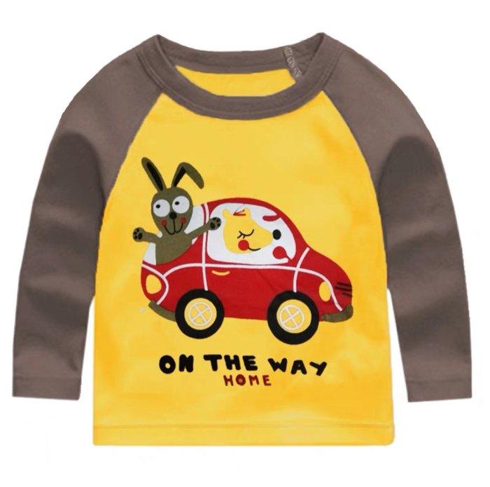 QQ羊*LA006-7新款男女童超柔棉長袖上衣 圓領T恤90~140cm, 動物汽車