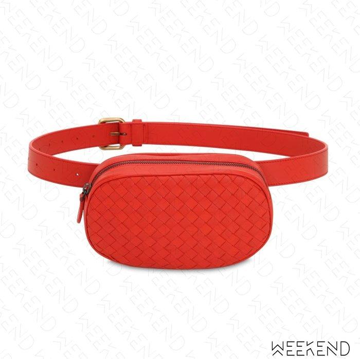 【WEEKEND】 BOTTEGA VENETA BV Intreccio Boom 編織 腰包 胸口包 紅色 19秋冬