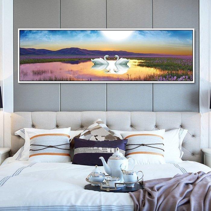 文藝 家飾 掛畫 裝飾畫 背景墻 主臥室床頭掛畫客廳裝飾畫沙發背景墻酒店客房壁畫現代簡約天鵝橫 米斯特芳