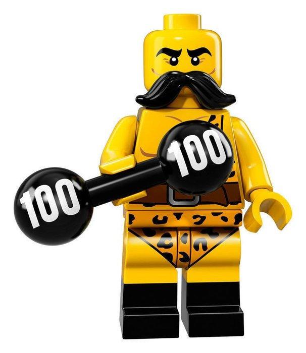 【LEGO 樂高】2017最新 積木/ Minifigures人偶包系列:17代 71018   #02 馬戲團舉重男人