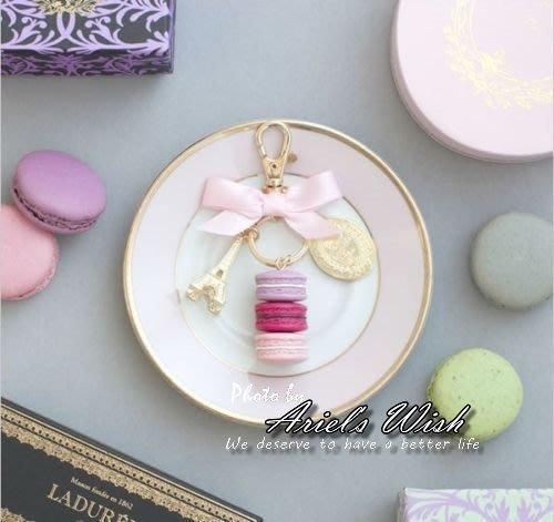 Ariel's Wish-日本東京銀座貴婦品牌LADUREE-橢圓baby粉緞帶蝴蝶結馬卡龍巴黎鐵塔鑰匙圈-現貨*1在台