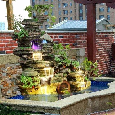 養魚水池假山石造景庭院裝飾招財流水噴泉擺件別墅陽臺大廳景觀小豬佩奇