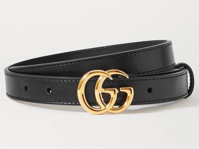EUstore現貨全新►Gucci黑色皮帶亮金色GG logo腰帶女生大人85義大利製1.5cm細版/歐美代購專櫃正品