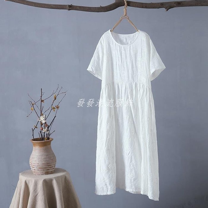 發發潮流服飾F6夏季新款文藝圓領刺繡棉麻高腰短袖連身裙寬松顯瘦中長裙0.32