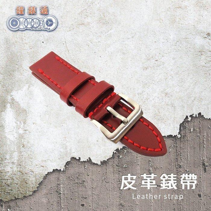 【鐘錶通】原始系列 沛納海專用錶帶 酒紅 單一尺寸 車線款