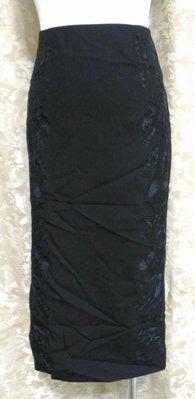 ~麗麗ㄉ大碼舖~#0-6(26-29吋)黑色繡花布面後拉鍊式短裙~特價拍賣~