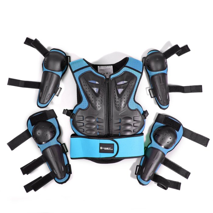 【購物百分百】GHOST RACING摩托車護具兒童護甲衣騎行防護越野套裝運動護膝護肘