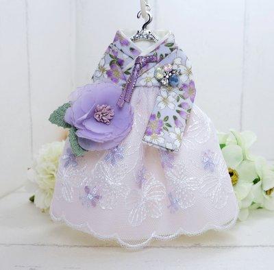 檸檬手作飾品   燙金紫花蕾絲紗花韓服手作鑰匙圈/包包吊飾