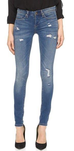 ◎美國代買◎blankNYC 微刷破經典藍色合身牛仔褲~歐美街風