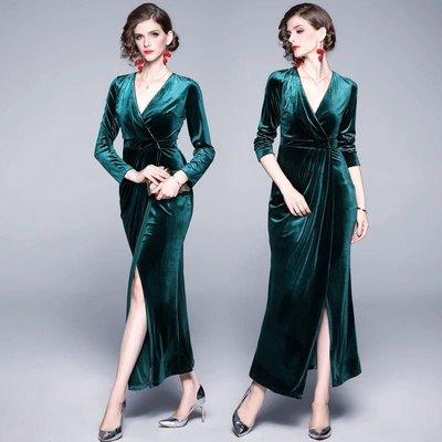 BA04717 綠色 歐美女裝氣質v領禮服裙復古開叉絲絨長款連衣裙 S-XL