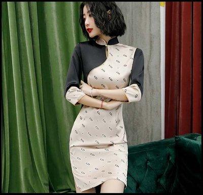 【Fashion歐洲站】改良版長袖旗袍連衣裙年輕款秋冬少女中國風名媛氣質短款修身性感