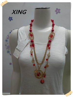 免運出清。XING【全新專櫃商品】椒紅色 華麗混搭風格大小圓珠金色太陽造型圓環三層金屬項鍊。