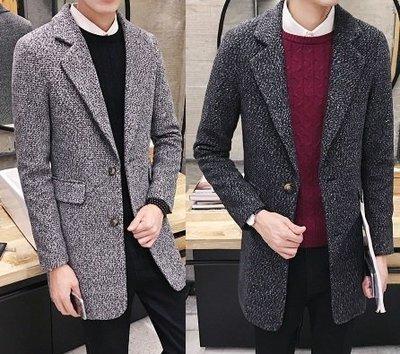 【潮品主義】韓國英倫時尚中長款毛呢風衣西裝外套4色 特價+下殺