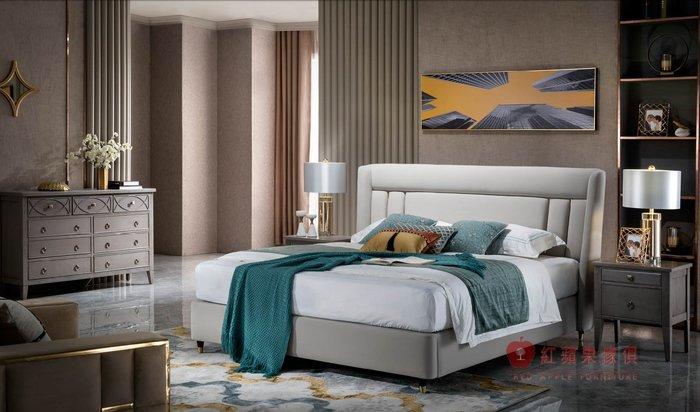 [紅蘋果傢俱] YWX805 歐式輕奢唯美 布床 歐式皮床 新古典床台 黃銅五金床架 美式雙人床