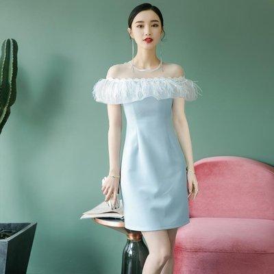 洋裝小禮服女新款伴娘年會顯瘦名媛高貴晚宴會聚會連衣裙秋冬洋裝   全館免運