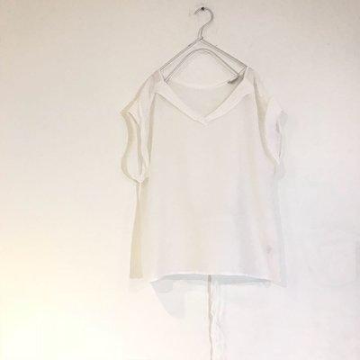 現貨 日本質感品牌 nombre impair 女孩感 薄棉後綁帶 反摺袖 短袖上衣 blouse