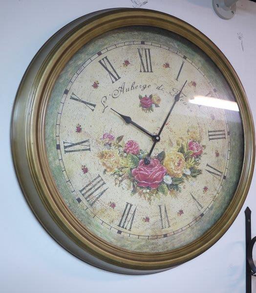 【布拉格歐風傢俱】 復古古銅玫瑰大掛鐘  仿舊 大笨鐘 羅馬數字時鐘 客廳 店面