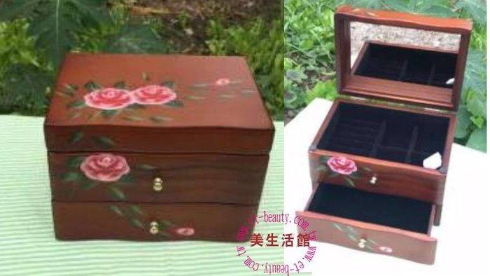美生活館---全新鄉村彩繪 粉紅玫瑰掀蓋一抽木色 珠寶盒 珠寶盒/收納箱/手飾櫃--入宅店面 拍照 戒子項鍊耳環收納