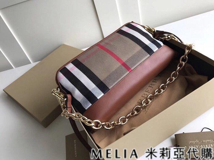 Melia 米莉亞代購 美國精品代購 巴寶莉 戰馬 女士秋冬新款 鍊條包 斜背包 單肩 手提 帆布配皮 棕色