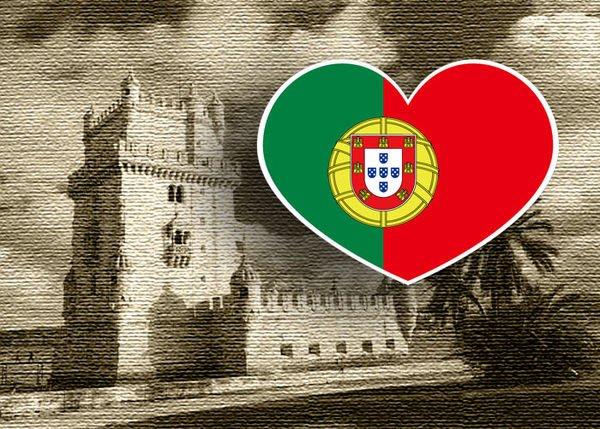 【衝浪小胖】葡萄牙國旗抗UV、防水愛心形登機箱貼紙/Portugal/各國都有販賣和客製
