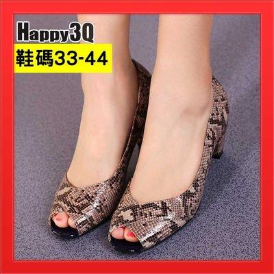 魚口鞋涼鞋女鞋真皮中跟43仿真蛇皮粗跟女鞋大尺碼44-黑/灰33-44【AAA4665】