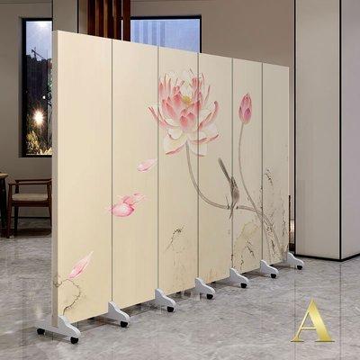 屏風 客廳隔斷 中國風新中式簡約實木屏風隔斷酒店客廳辦公會所移動玄關布藝裝飾折屏