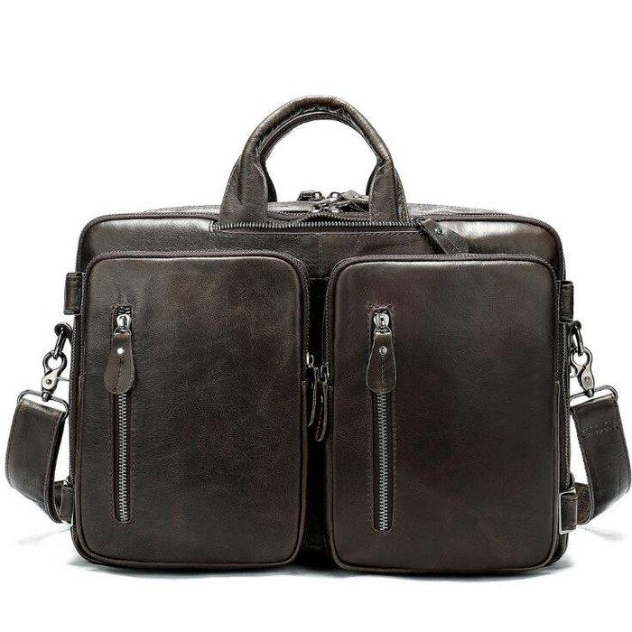 ☆Tide man☆ 18BAOK1415 真皮商務男士包大容量手提電腦包橫款單肩斜挎公事包背包